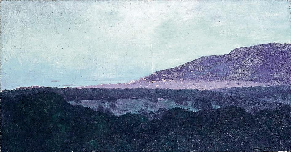 Gemälde von Félix Vallotton. Blick auf Trouville am Abend